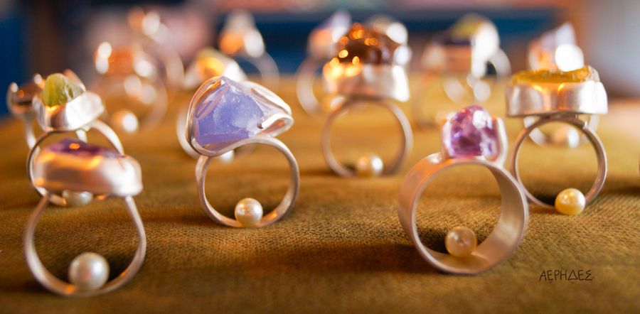 handmade silver rings with natural stones
