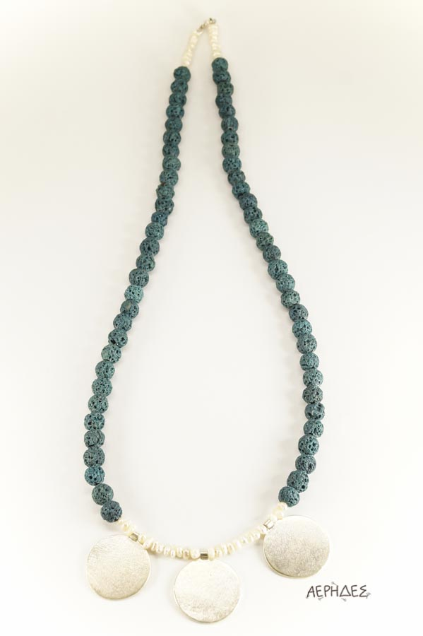 handmade silver necklace with blue colored lava and pearls