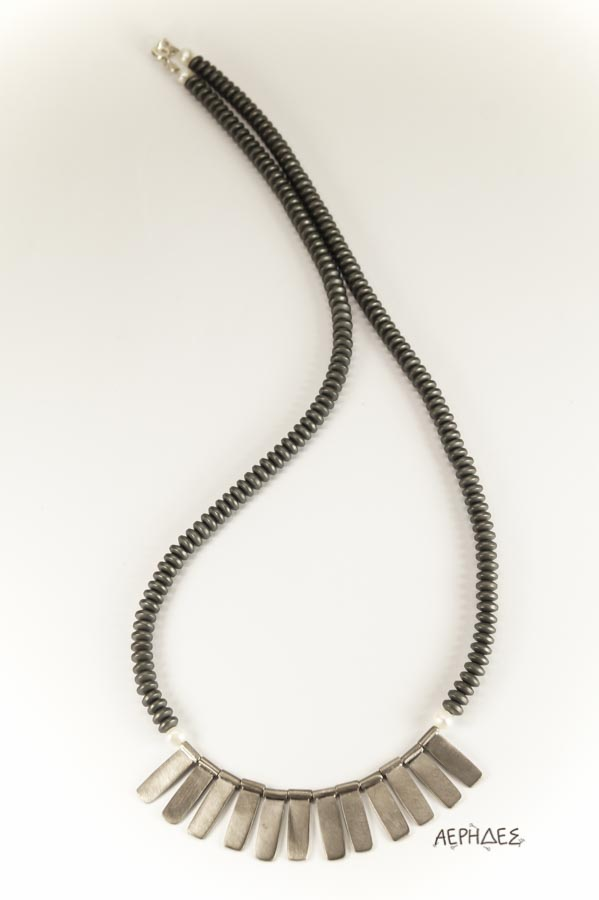handmade silver necklace with hematite and pearls
