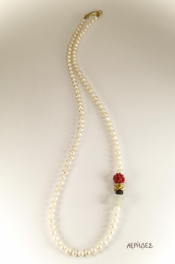handmade pearl necklace with brass,red coral,lava and an aquamarine
