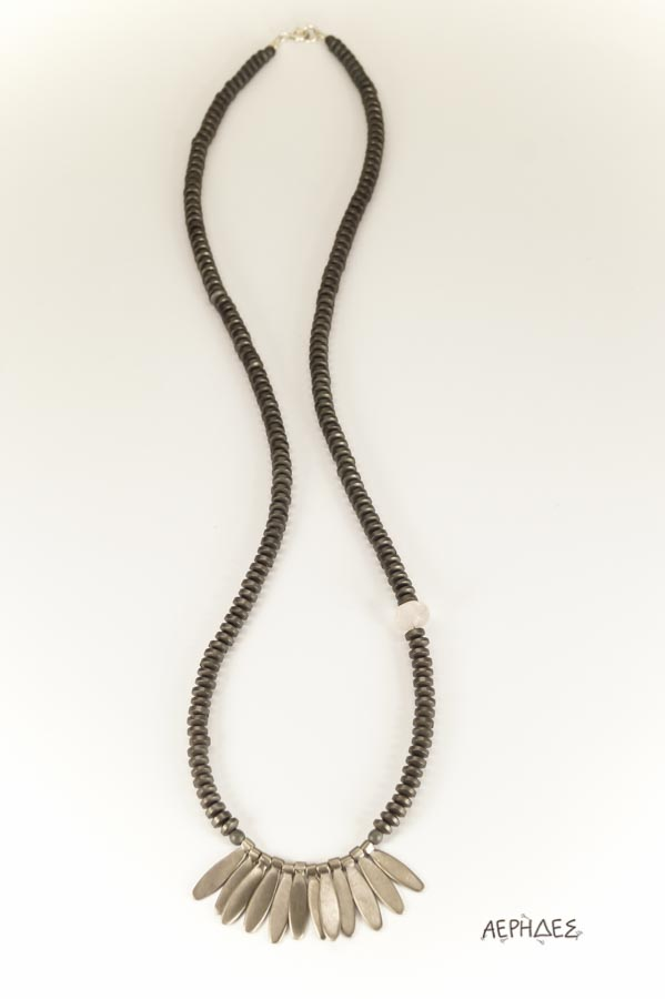 handmade silver necklace with hematite and one pink quartz