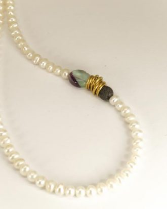 handmade pearl necklace with brass,fluorite and lava.Close up
